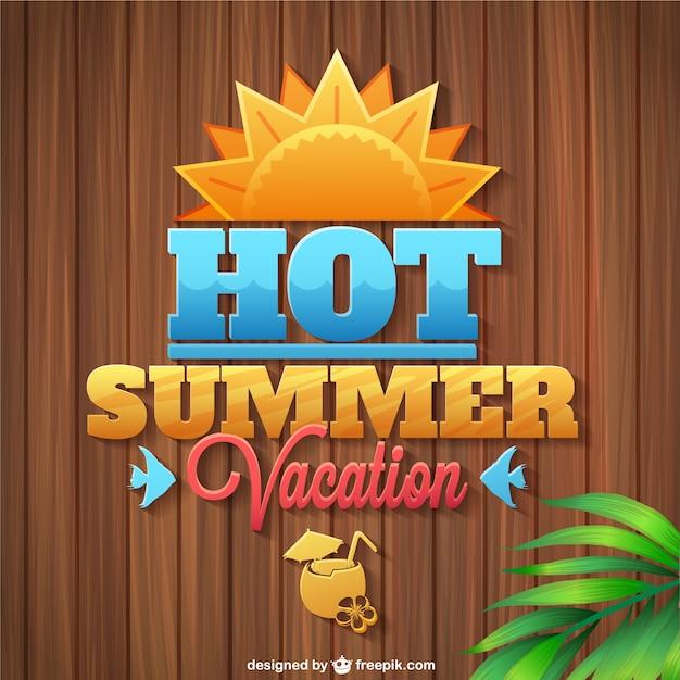 Летние каникулы логотип деревянные текстуры Бесплатные векторы