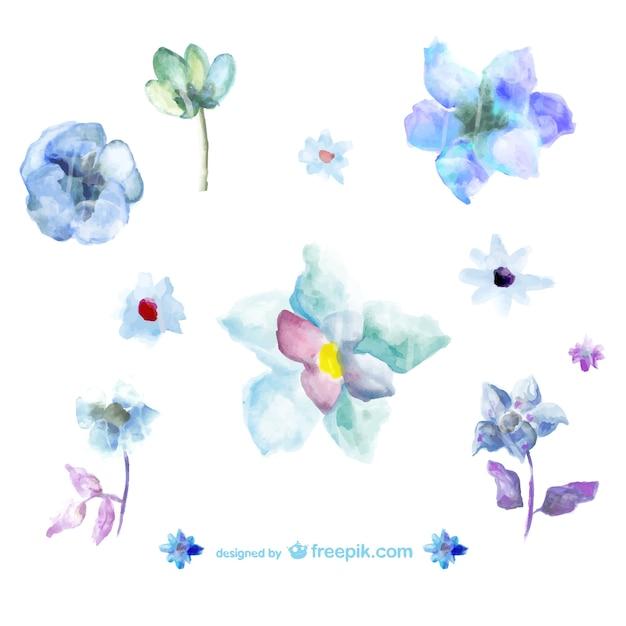 青の水彩画の花のイラスト ベクター画像 無料ダウンロード