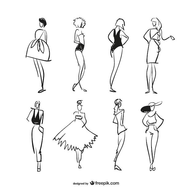 ファッションは自由なベクトルをスケッチ 無料ベクター