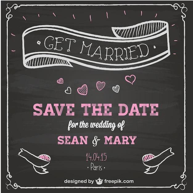 結婚式の招待状の黒板の設計 無料ベクター