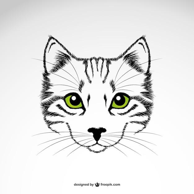 緑の目猫のベクトルアート 無料ベクター