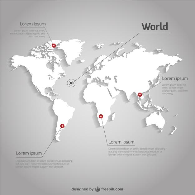 世界地図ベクトルインフォグラフィックテンプレート 無料ベクター