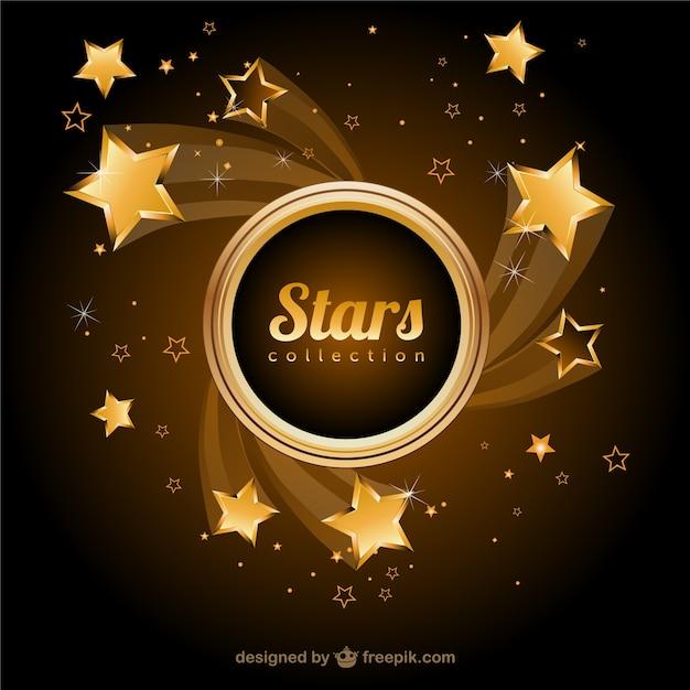 Фон золотые звезды вектор Бесплатные векторы