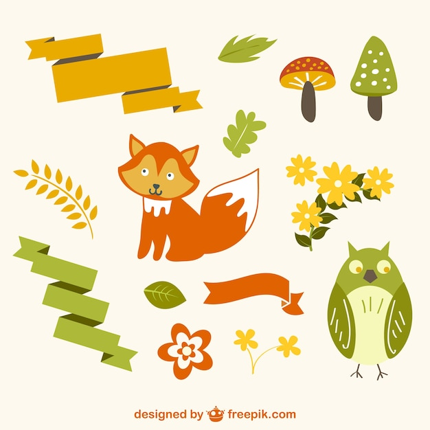かわいい森の動物のイラスト ベクター画像 無料ダウンロード