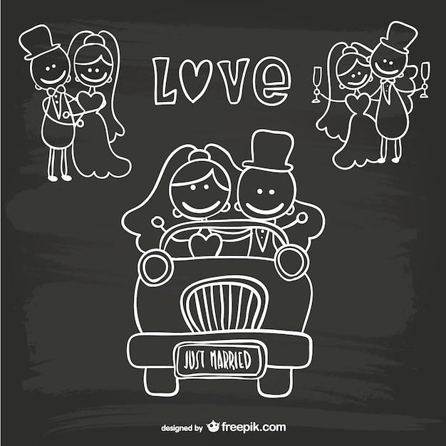 Мультфильм свадьбы молодожены шаблон Бесплатные векторы