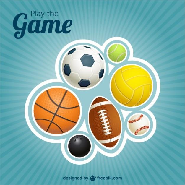 Спортивные мячи вектор дизайн Бесплатные векторы