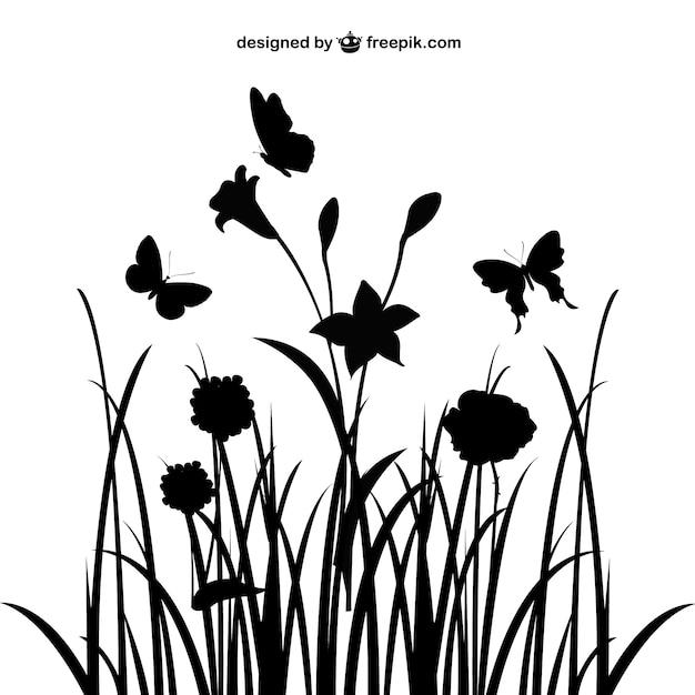 花の風景シルエット 無料ベクター