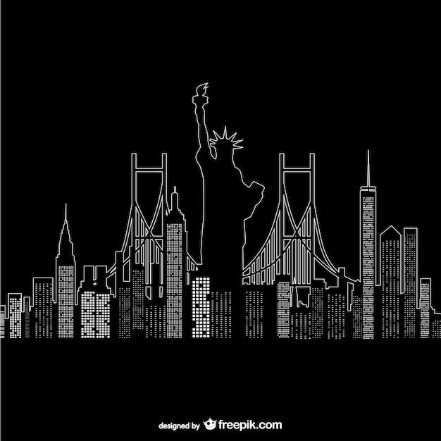 ニューヨークの夜の時間ベクトル 無料ベクター