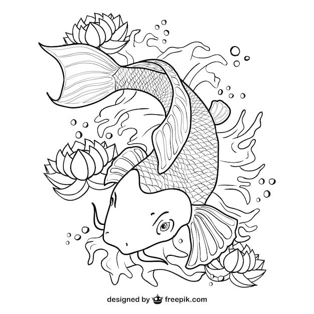 鯉魚のラインアートベクトル 無料ベクター