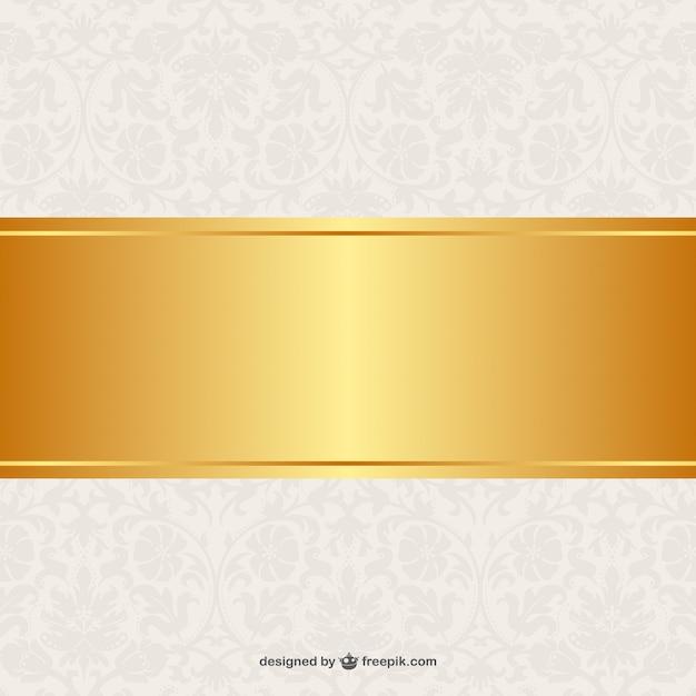 花の背景黄金のバナーデザイン 無料ベクター