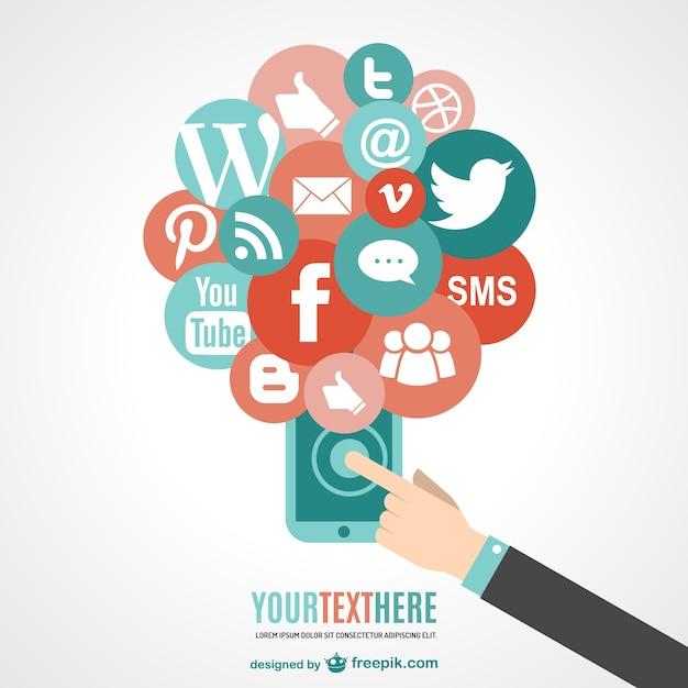Сенсорный телефон социальные медиа вектор Бесплатные векторы