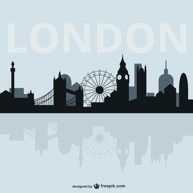ロンドンの街並みのシルエット 無料ベクター