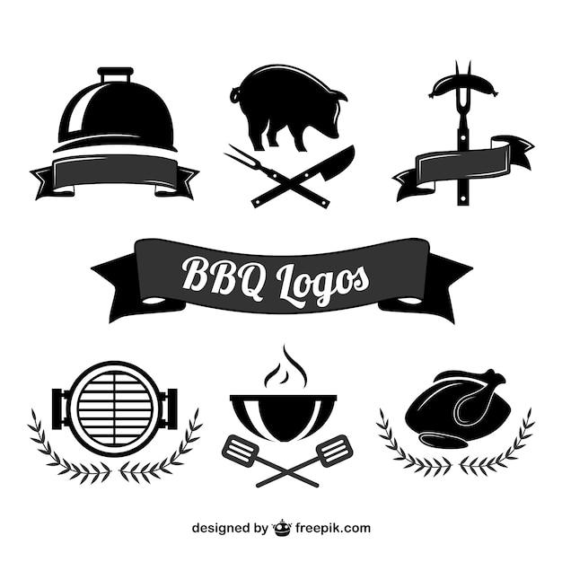 Барбекю для приготовления пищи логотипы Бесплатные векторы