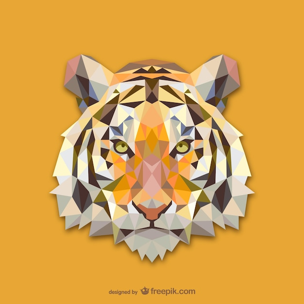 三角形の虎デザイン 無料ベクター