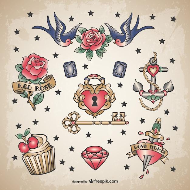 古典的な愛のタトゥーセット 無料ベクター