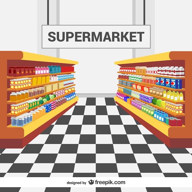 Полки супермаркетов вектор Бесплатные векторы