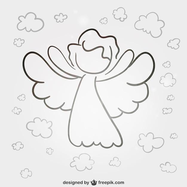 Ангел линии искусства вектор Бесплатные векторы