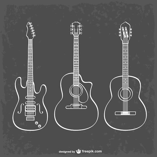 ギター、ラインアートとイラスト 無料ベクター