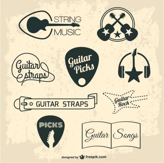 ギターのレトロなグラフィック要素 無料ベクター