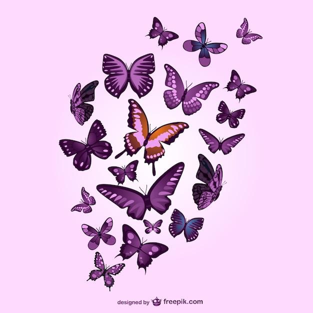 蝶ベクトルピンクの背景 無料ベクター