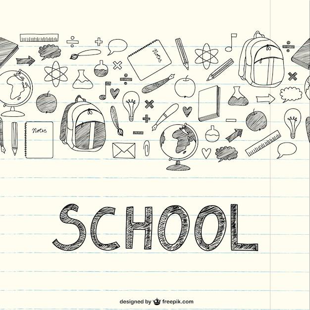 ノートブック上の学校の項目を描画 無料ベクター