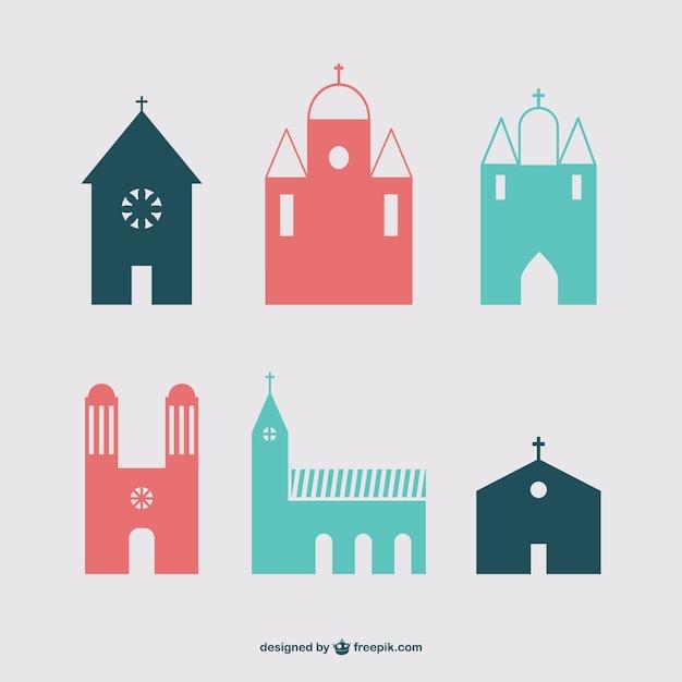 キリスト教の建物のアイコンセット 無料ベクター
