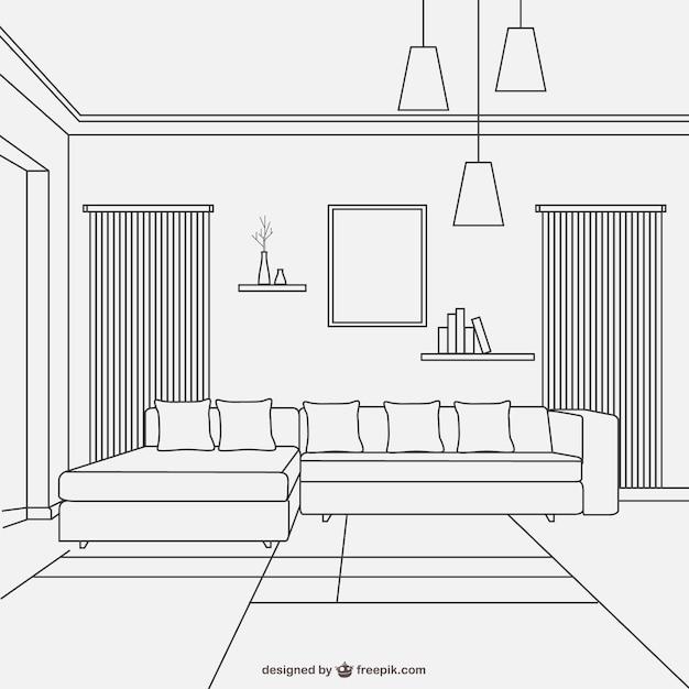 Дизайн гостиной линейном стиле Бесплатные векторы
