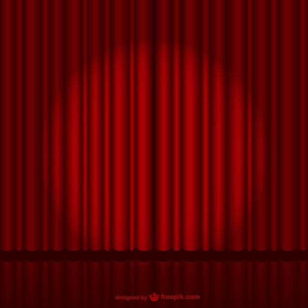 暗赤色の舞台幕 無料ベクター