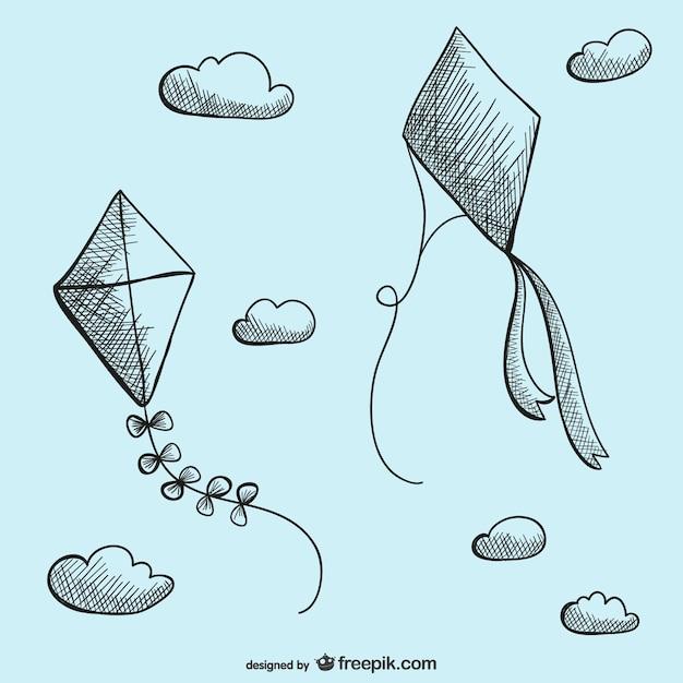 ベクトルを描く凧 無料ベクター
