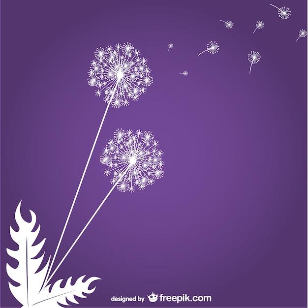 紫色の背景にタンポポ 無料ベクター