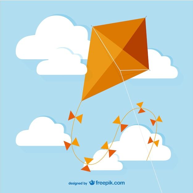 オレンジ色の凧ベクトル 無料ベクター