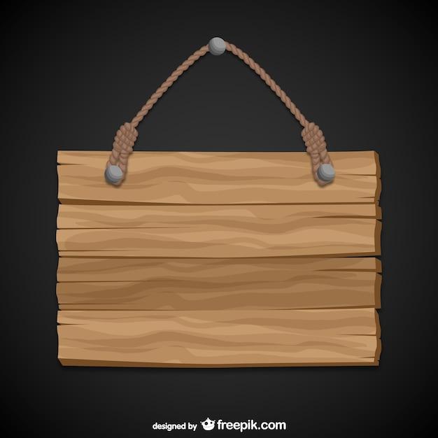 Висит деревянный знак Бесплатные векторы