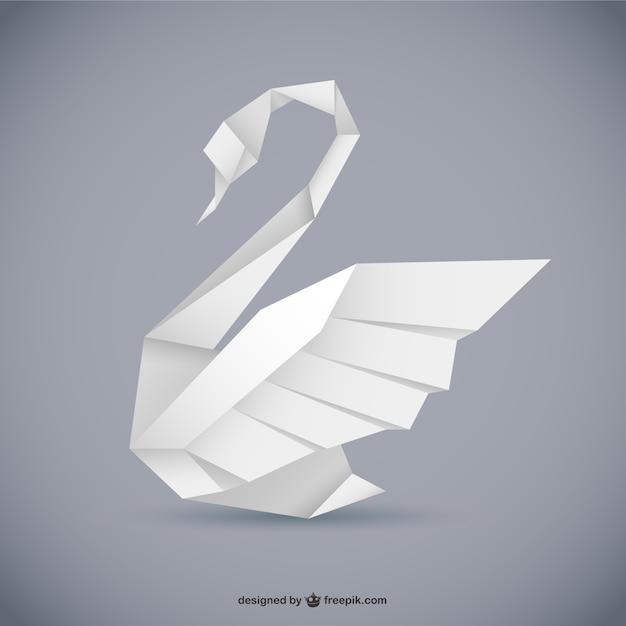 折り紙スタイルの白鳥ベクトル 無料ベクター