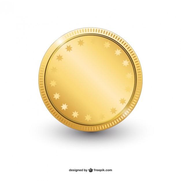 光沢のある金色のコインベクトル 無料ベクター