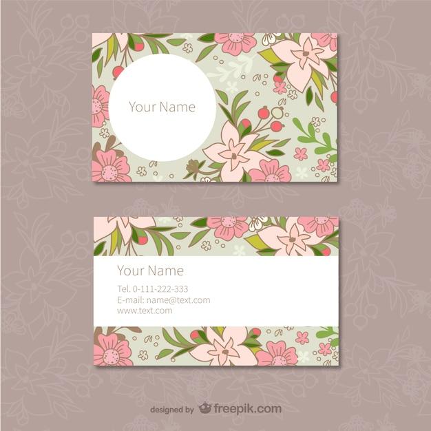 花柄の名刺テンプレート ベクター画像 | 無料ダウンロード