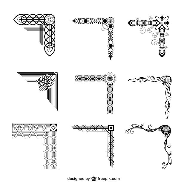 Коллекция декоративных углы Бесплатные векторы