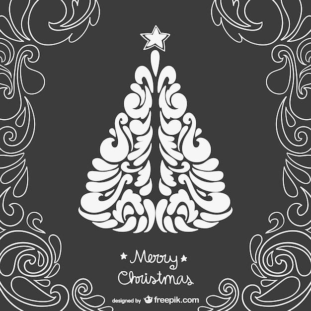 Новый, черно белая новогодняя открытки