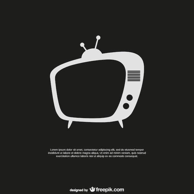 レトロなテレビがセットされたテンプレート 無料ベクター