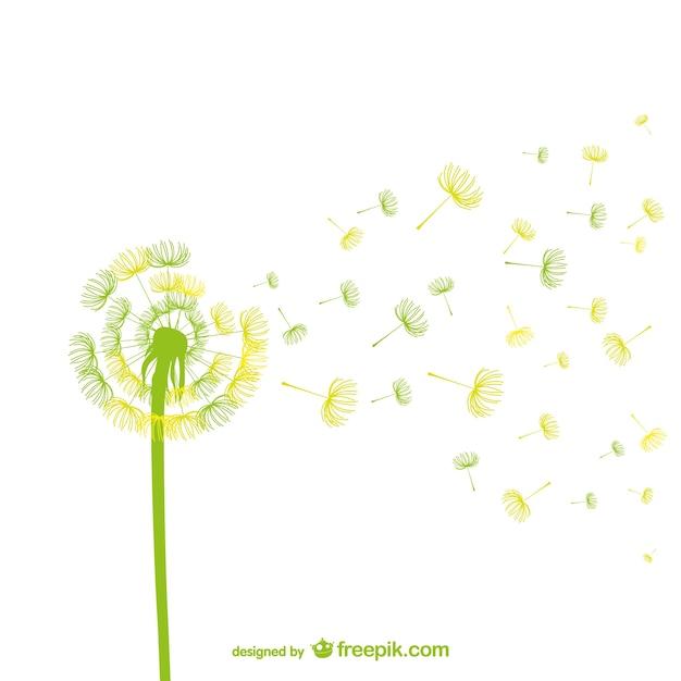 緑と黄色のタンポポベクトル 無料ベクター