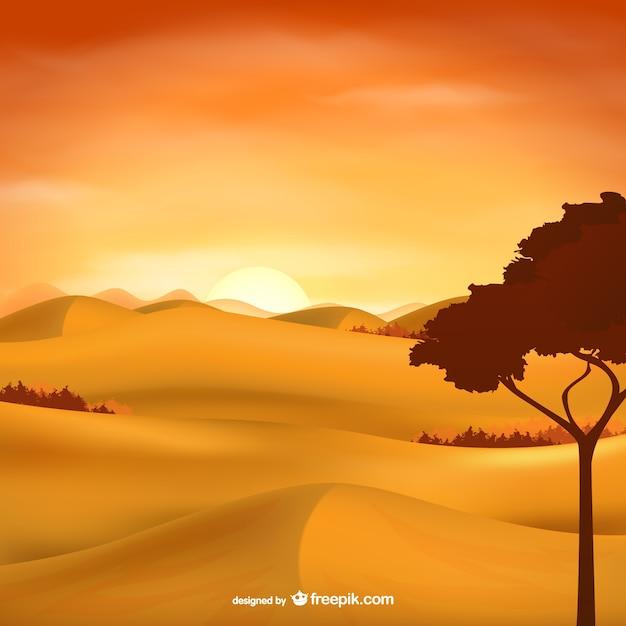 砂漠の風景ベクトル 無料ベクター