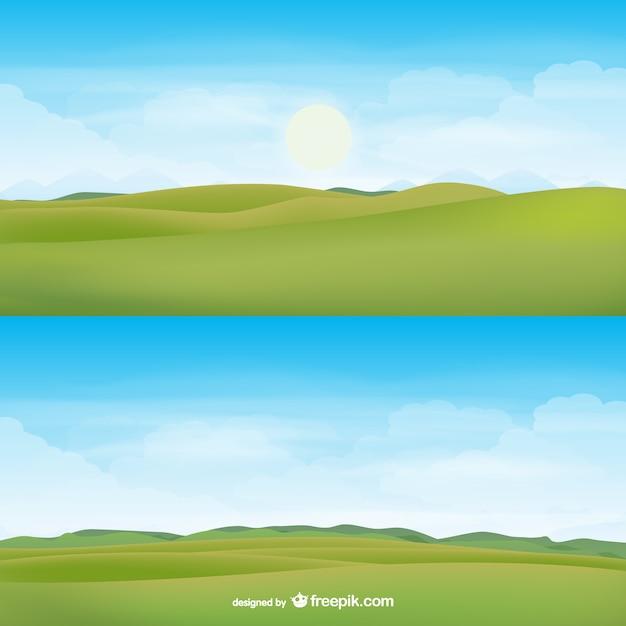 Горизонт пейзаж вектор Бесплатные векторы