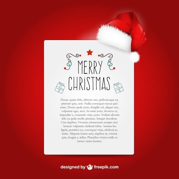 サンタクロースの帽子とクリスマスの手紙のテンプレート ベクター画像