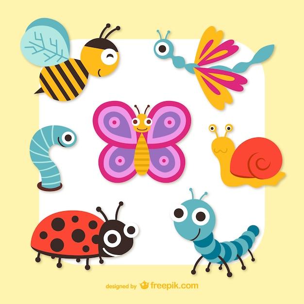 Милые мультипликационная графика насекомых вектор Бесплатные векторы