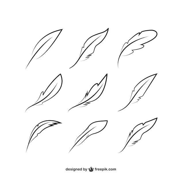 Эскизные перья пакет Бесплатные векторы