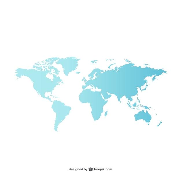 Синий карта мира Бесплатные векторы