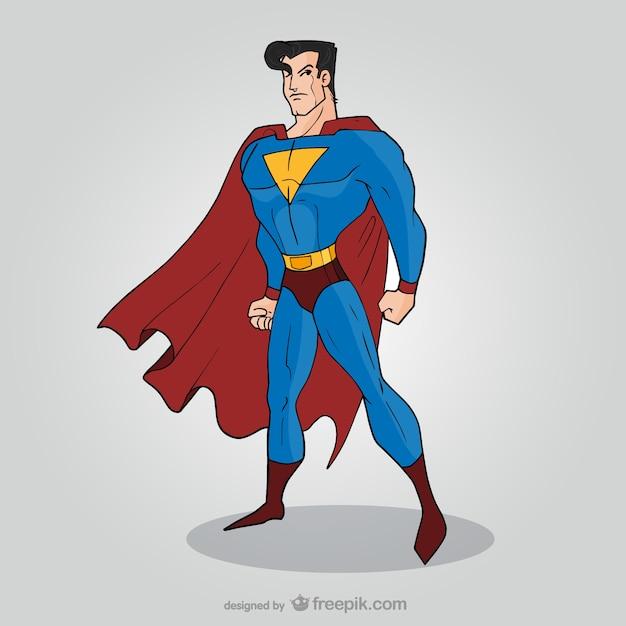 コミックのスーパーヒーローに立ってポーズ 無料ベクター
