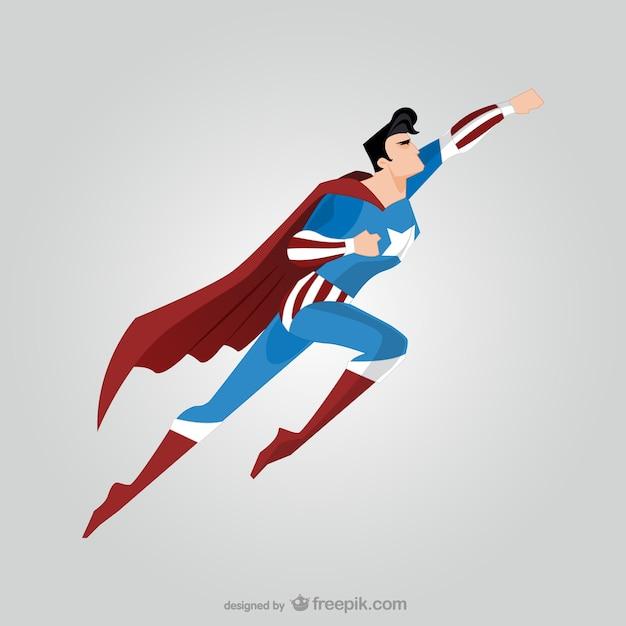 飛行スーパーヒーローの側面図 無料ベクター