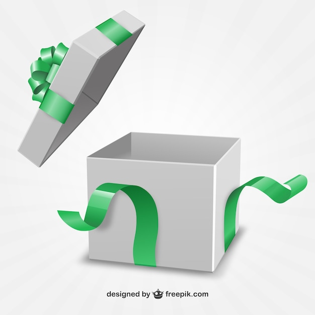 緑のリボンでプレゼントボックス 無料ベクター