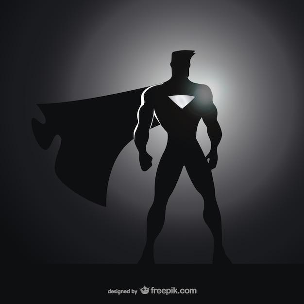 コミックのスーパーヒーローのシルエット 無料ベクター