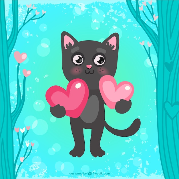 Открытка кот с сердечком